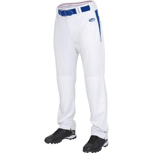 Rawlings  Youth Semi-Relaxed Pants with Waist Inserts, Medium, White/Royal (Rawlings Boys Baseball Pants)