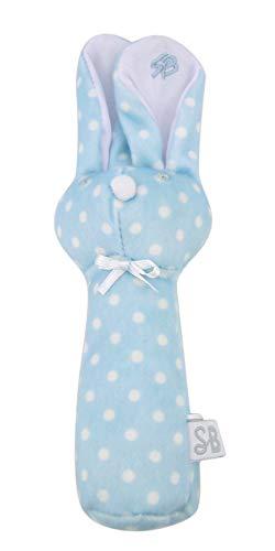 Polka Dot Blue Plush Bunny Rabbit Baby Rattle, 8 ()
