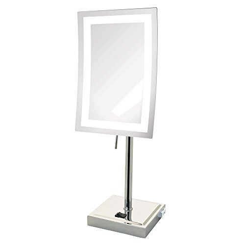 Jerdon JRT910CL 5X Magnified Lighted Tabletop Rectangular Mirror, Chrome Finish, 67.2 Ounce by Jerdon