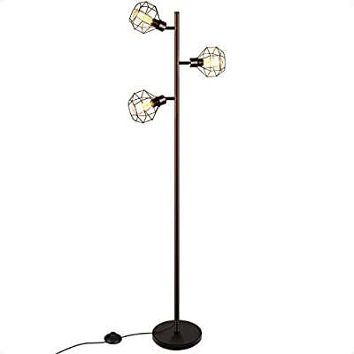 LED Industrial Floor Lamp with 3 Adjustable Heads, 3-Light Tree Floor Lamp, Rustic Floor Lamp, Farmhouse Floor Lamp for Bedroom, Living Room, Office, 3 Vintage 40W Equipment LED Bulbs Included (Black)