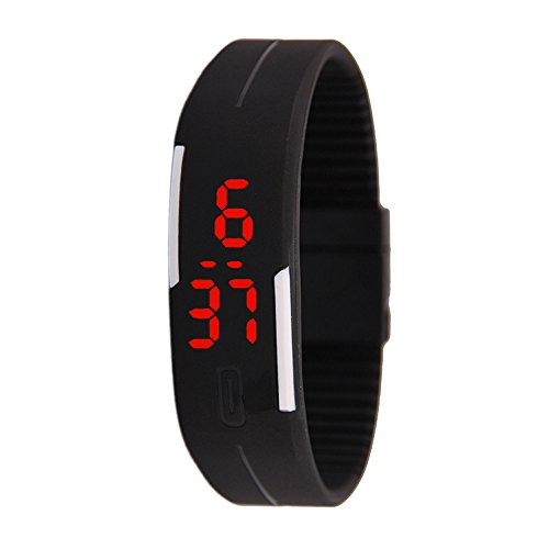 Unisex Rubber LED Watch Date Sports Bracelet Digital Wrist Watch Black