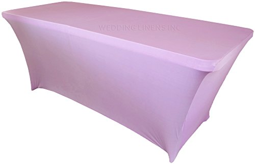 Wedding Linens Inc. Wholesale (200 GSM) 6 FT Rectangular Spandex Stretch Fitted Table Cover Tablecloths Lavender