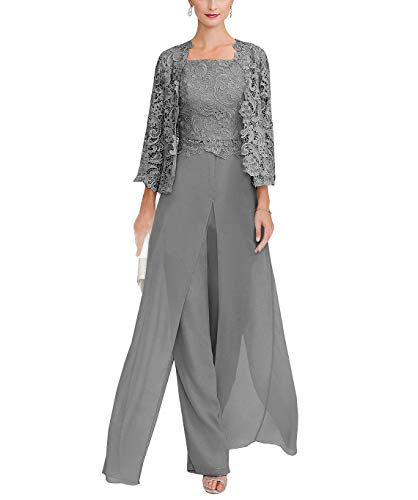Sexy Women's 3 Pieces Chiffon Mother of Bride Dress Pant Suits with Long Sleeves Appliques Lace Pleat Jacket for Weddinng(Custom Made,Grey) ()