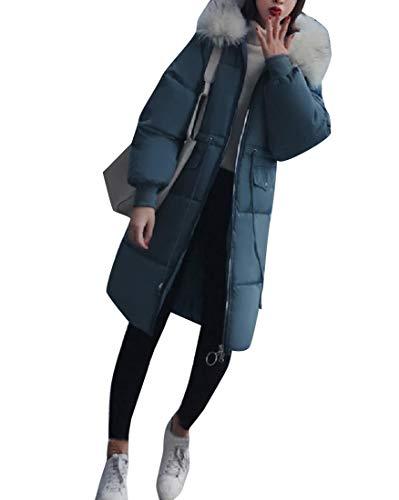Collar Warm Coat RkBaoye Brumal Mid Womens Fur Hood Jacket Blue Long Down with xPqFFaw5