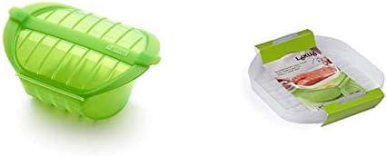 Lékué Ogya 1-2 verde Estuche Vapor, silicona platino, Personas + Bandeja para Estuche De Vapor Hondo, Transparente 1-2 Personas, Silicona: Amazon.es: Hogar