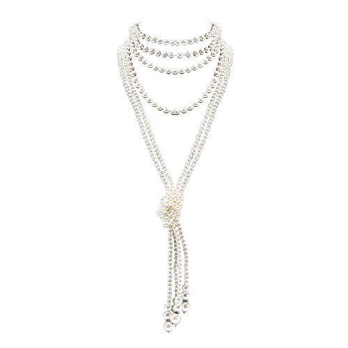 "BABEYOND 1920s Imitation Pearls Necklace Gatsby Long Knot Pearl Necklace 49"" and 59"" 20s Pearls 1920s Flapper Accessories (Knot Pearl Necklace2 + 59"