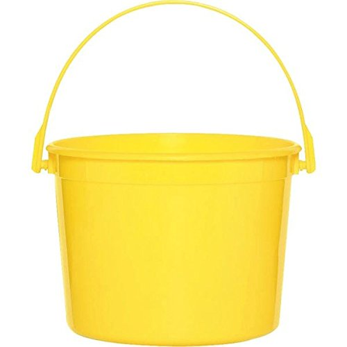 Amscan Plastic Party Favor Giveaway Bucket, Yellow Sunshine, 6 1/4
