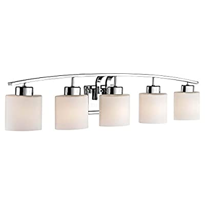 "5-Light Bathroom Wall Mounted Light with White Oval Glass and Chrome Finish - DIMENSIONS: 8""h x 41""l x 5.5""d FINISH: Chrome MATERIAL: Steel - bathroom-lights, bathroom-fixtures-hardware, bathroom - 31Q CZ0ahPL. SS400  -"