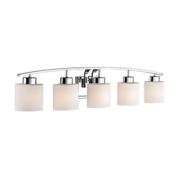 """5-Light Bathroom Wall Mounted Light with White Oval Glass and Chrome Finish - DIMENSIONS: 8""""h x 41""""l x 5.5""""d FINISH: Chrome MATERIAL: Steel - bathroom-lights, bathroom-fixtures-hardware, bathroom - 31Q CZ0ahPL. SS570  -"""
