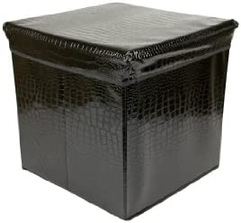 Home Basics Folding Storage Ottoman, Crocodile Design, Black