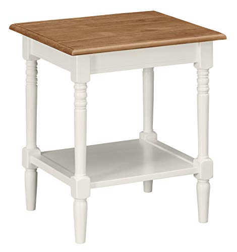 Ravenna Home Amber Farmhouse Shelf Storage Side End Table, 20 W, Natural and White