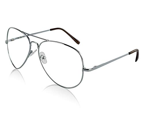 SunnyPro Aviator Eyeglasses Silver Clear Lens For And Men Costume UV ()