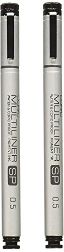 Copic Multiliner SP Black Ink Marker, 0.5 Tip (2 pack)