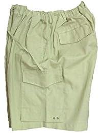 Men's Big-Tall Cargo Shorts Cool Soft Linen Blend Color Sage
