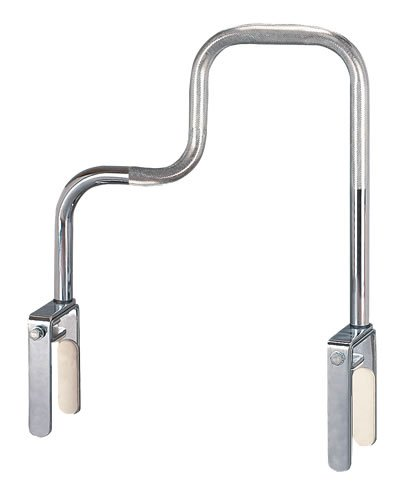 Tub Rail - Bathtub safety rail-high profile, 1'' tubing with knurled safety grip finish, foam lined clamp attaches rail securely to provide sturdy support and won't scratch tub surface, 8'' to 15'' high and 17'' wide. Fits all modern tubs wall width 3 1/2'' -