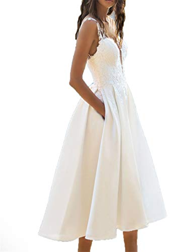 Women Midi Long Prom Dress Mermaid Lace Formal Evening Gown(White-X-Large) ()
