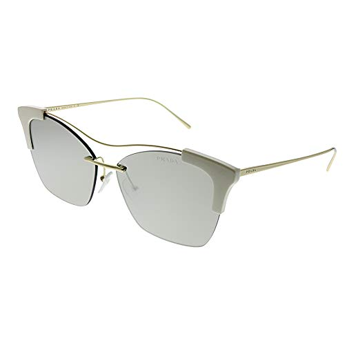 (Prada Women's PR21US Sleek White Gold Square Sunglasses, White Gold/Pale Gold, One Size)