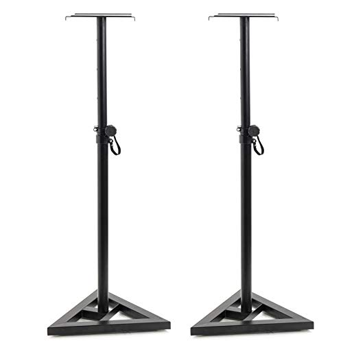 Display4top Pair of Floor Speaker Stand for Studio Monitor Speaker Stands w/Stable Triangle Base,Adjustable 6 Height (Black)
