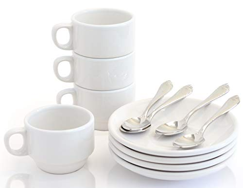 Cole & Hammen - Demitasse Espresso Cups and Saucers with Spoons, 12 Piece Stackable Small Mug Set, 3 Ounce, Antique White, With Warranty (Upgrade Heirloom Quality)