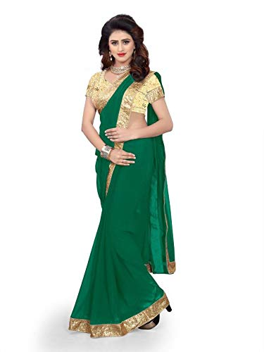 2b366aa7a85113 Clickedia Women's Georgette Golden Border Saree With Blouse Piece (Green_  Free Size): Amazon.in: Clothing & Accessories