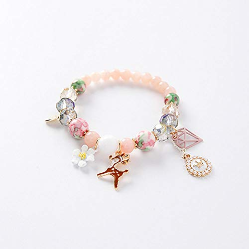 Creative Beaded Bracelet Bohemian Small Fresh Flowers Pink Crystal Stone Deer Pearl Crown Pendant Bracelet Ladies Student Christmas Valentine's Day -