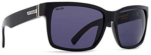 Vonzipper Mens Elmore Polarized Sunglasses, Black Gloss/Vintage Grey Wildlife - One Size