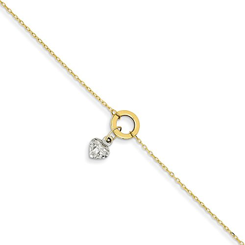 14k Gold Two Tone Circle/Puff Heart 1 Inch Adjustable Chain Plus Size Extender Anklet Ankle Beach Bracelet Fine Jewelry Gifts For Women For Her