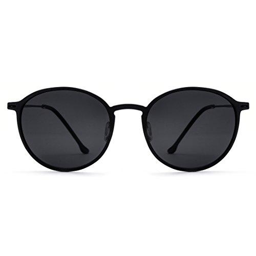 Hombres de los polarizadas Black Gafas para Frame Titanio Lens del Redondas Sol Black Sakuldes Frame Color Lens Black Marco Black retras Gafas de ultraligeras del Sol aqwZx5p