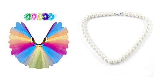 Newborn Photography Prop Bundle -1 Rainbow Tutu - 1 Flower Headband -1 Simulated big pearl necklace (Rainbow (Halloween Photo Shoot Ideas For Infants)