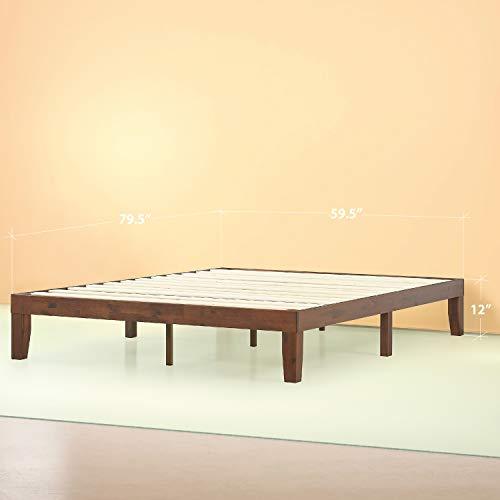 Zinus Marissa 12 Inch Wood Platform Bed / No Box Spring Needed / Wood Slat Support / Antique Espresso Finish, Queen