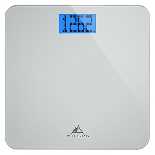 Weight Gurus Digital Bathroom Scale, Large Display, Precision Body Weight Measurement, Accurate to 0.1 of a Pound. Batteries - Go Gold Purple Be