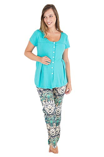 Pijama gestante abertura frontal amamentação