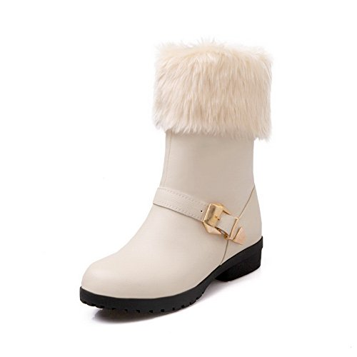 Collar Studded Ladies Buckles BalaMasa Beige Metal Rhinestones Fur Boots Leather Imitated qYdg5