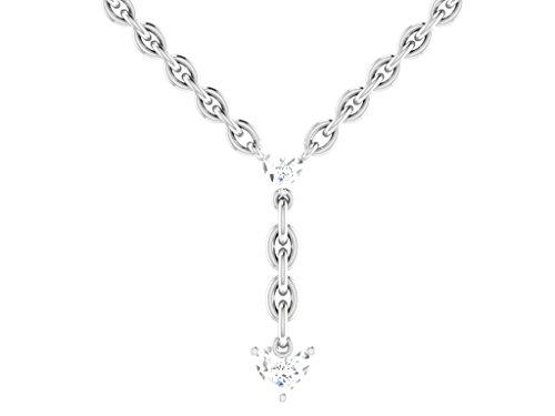 Or Blanc 18 ct Pendentifs Diamant en forme de Y, 0.02 Ct Diamant, GH-SI, 0.29 grammes.