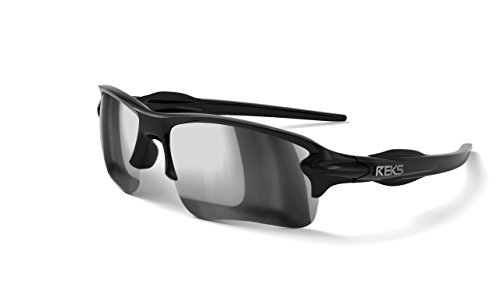 REKS Polarized Unbreakable SLING-BLADE Sunglasses, Black Frame, Silver Mirror - Blades Sunglasses