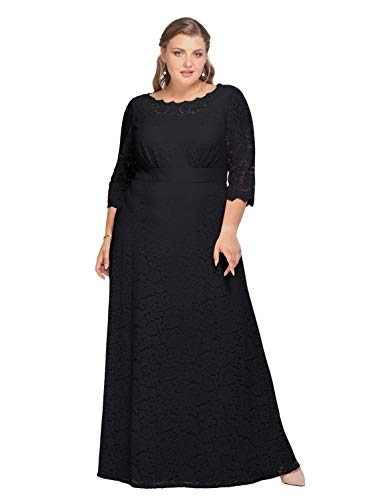Alicepub Lace Wedding Dress Plus Size Long Formal Dresses Evening Gowns for Mother of The Bride, Black, US24