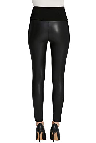 7c92c419d44 Everbellus Womens Black Faux Leather Leggings Girls High Waisted Sexy  Leather Pants Small