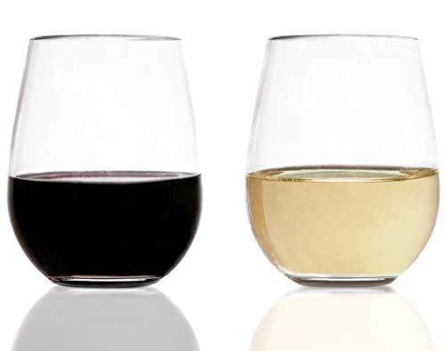 0aad9c8dd0b Vinjoy Unbreakable Stemless Plastic Wine Glasses 16 Ounce (Set Of 4) -  Extra Durable - Reusable Shatterproof Tritan Indoor Outdoor Party Cups - ...