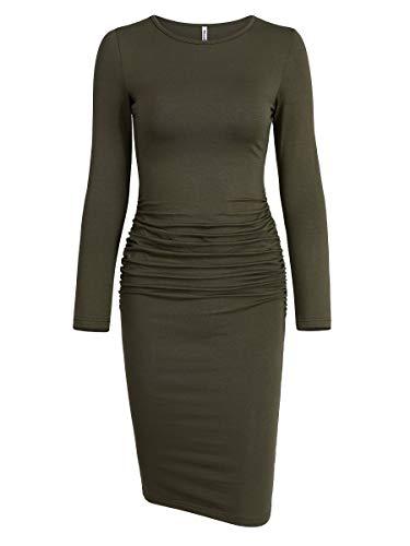 Missufe Women's Ruched Casual Sundress Midi Bodycon Sheath Dress (Long Sleeve Army Green, X-Small)