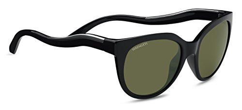 Serengeti Lia Sunglasses Shiny Black/Shiny Silver, - For Serengeti Women Sunglasses