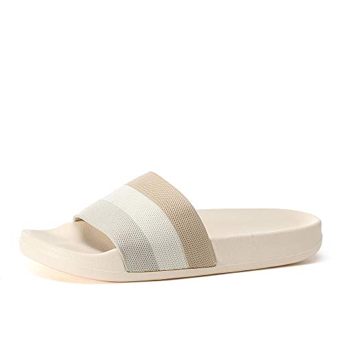 posehome Women's Slide Sandal Flip Flops Slides Shoes Outdoor Indoor Comfort Beach Sandals Slippers Flat Shoes Beige, 7 M Women/6 M Men