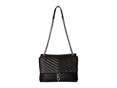 Rebecca Minkoff Women's Edie Flap Shoulder Bag, Black, One Size (Non Leather Crossbody Bags)