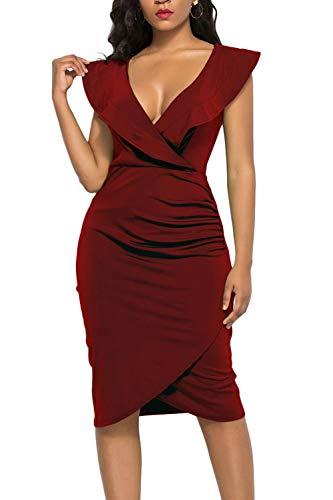 (WIWIQS Women's Sexy V Neck Bodycon Sleeveless Ruffle Dress Front Slit Bandage Midi Club Dresses,Wine Red,S)