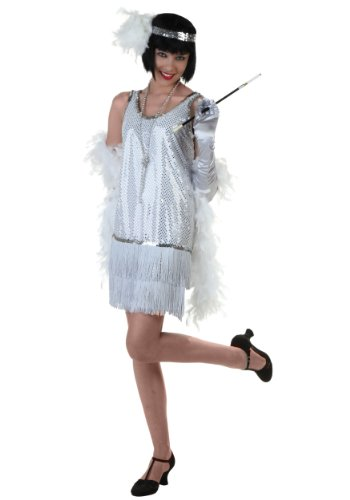 Silver Plus Size Flapper Dress Costume ()