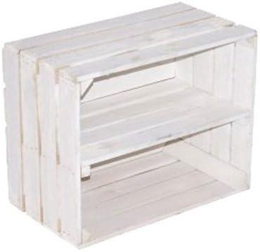 Caja de madera maciza para usar como estantería para zapatos, CD o libros, barnizada, con estante intermedio: Amazon.es: Hogar