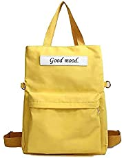 Rouya Portable Tote Bag Handle Shoulder Backbag 3in1 Large Canvas Tote Bag for School Teen Girls Shopping Traveling (Yellow)