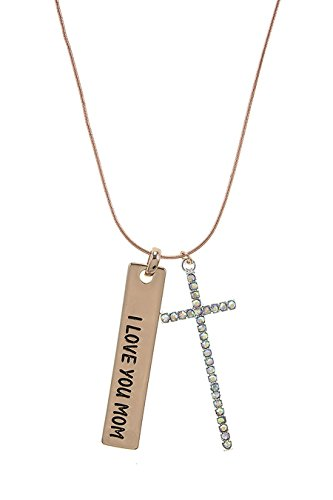 THE JEWEL RACK I LOVE YOU MOM CRYSTAL CROSS CHARM NECKLACE (Rose Gold)