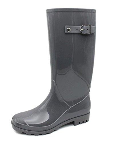 MS2902 Dark Gray Ladies Shiny Rain Boots Size - Womens Rain Boots Size 6