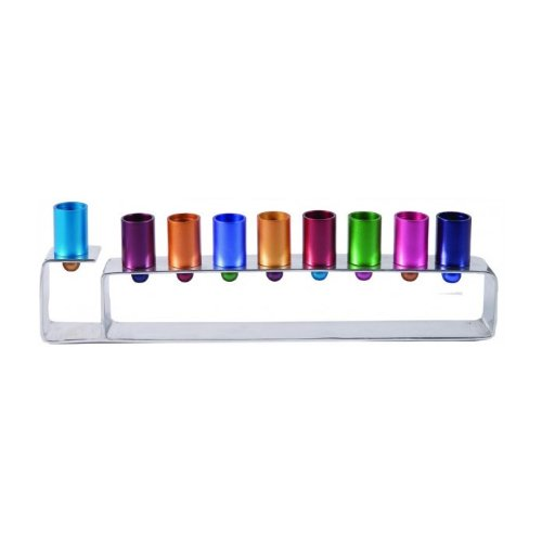 Yair Emanuel Anodized Aluminum Hanukkah Menorah with Bright Candleholders by World Of Judaica