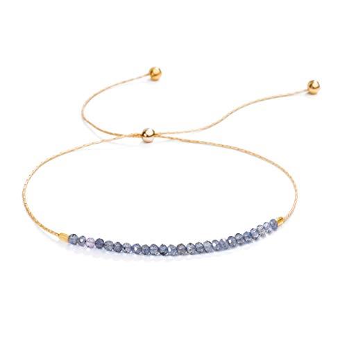 (SHASHI Natasha Slide Iolite Gemstone Gold Plated Adjustable Bracelet)